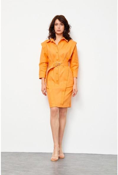 Setre Oranj Kemerli Cepli Jean Elbise