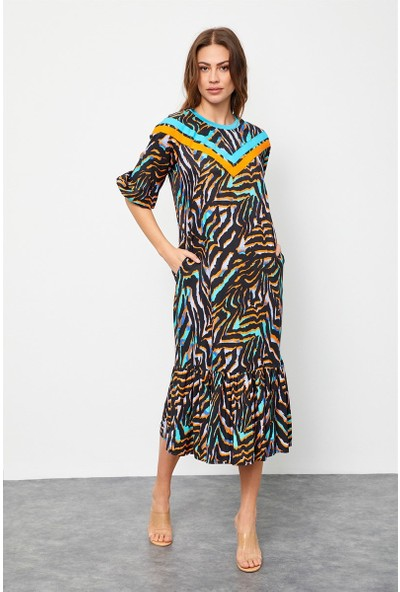 Setre Siyah-Oranj Floş Viskon Çizgili Midi Boy Elbise