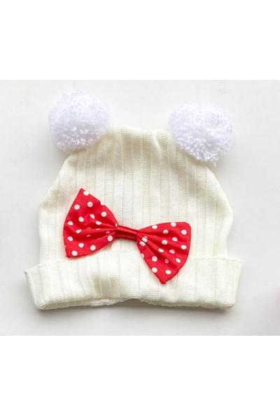 Güneş Bebe Mickey Triko Şapka Krem