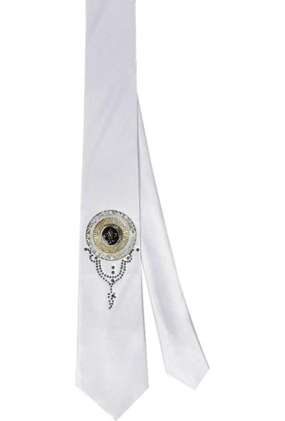 Deepsea Beyaz Armalı Taşlı Mendilsiz Kravat 2107523
