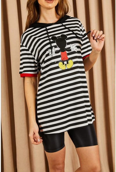 Hadise Çizgili Mickey Baskılı Tshirt Siyah