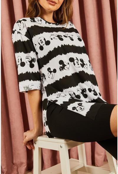 Hadise Kravat Baskılı Boy Friend Tshirt 029 Siyah Beyaz