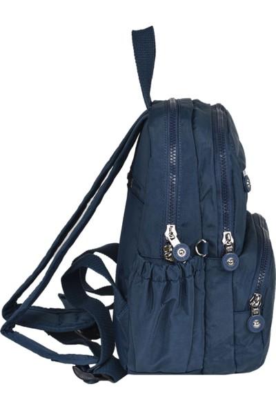 Smart Bags Krinkıl Kumaş Lacivert Bayan Sırt Çantası 1083