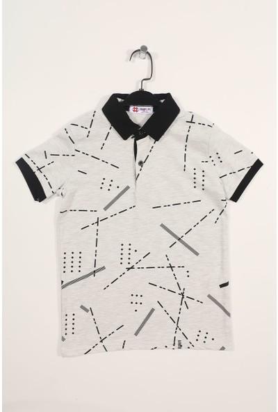 Tommy Life Kar Melanj Erkek Çocuk Desen Baskılı Dar Kesim Polo Yaka T-Shirt-10629_1