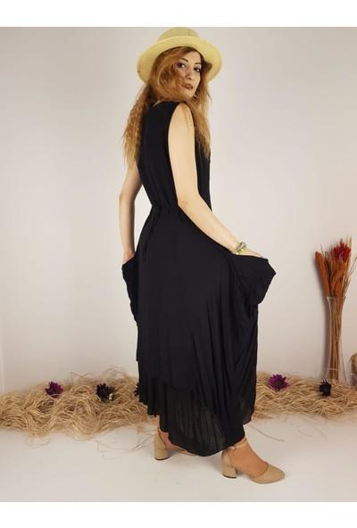 Park Moda Kadın Siyah %100 Pamuk Astarlı Işlemeli Elbise 10197
