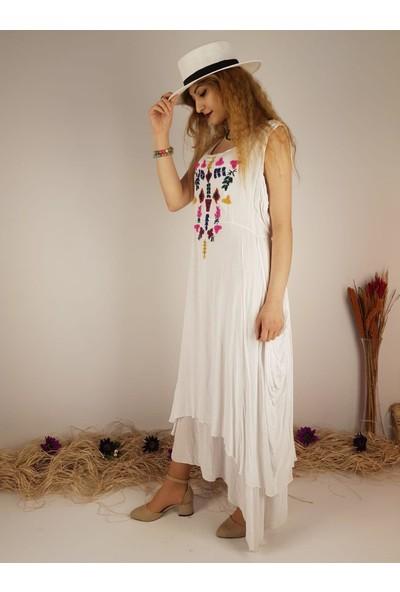 Park Moda Kadın Beyaz %100 Pamuk Astarlı Işlemeli Elbise 10198