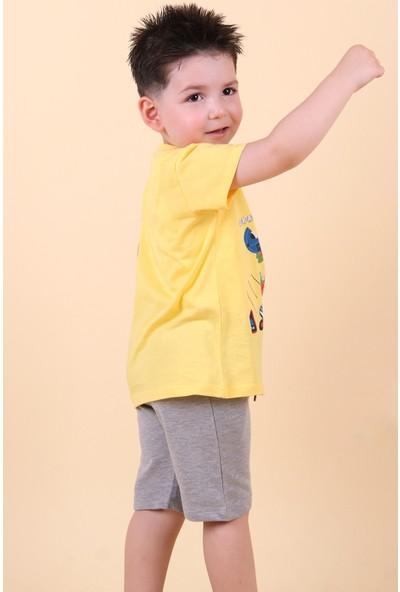 Breeze Erkek Çocuk Kapri Takım Dili Hareketli Kaykaya Binen Dinozor Baskılı Sarı (1-4 Yaş)