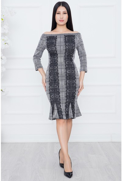 Kalopya Bayan Ceney 3923 Ekose Dantel Aks.elbise