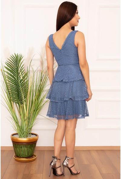 Kalopya Bayan Ponpon Detay Dantel 836 Elbise
