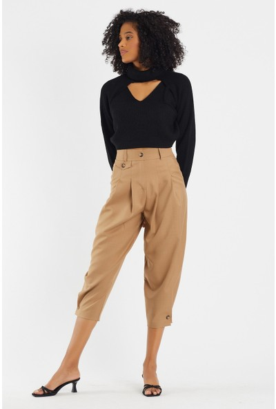 4 Sisters Fashion 2'li Tasarım Boğazlı Siyah Triko