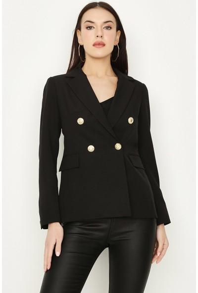 Select Kadın Siyah Düğmeli Blazer Ceket S053/1604/005 40