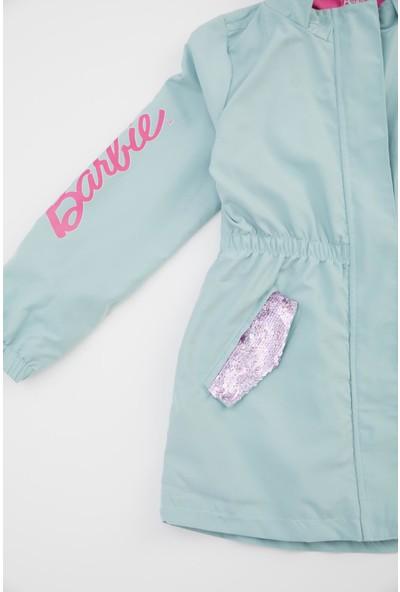 Defacto Kız Çocuk Barbie Lisanslı Kapüşonlu Uzun Ince Yağmurluk