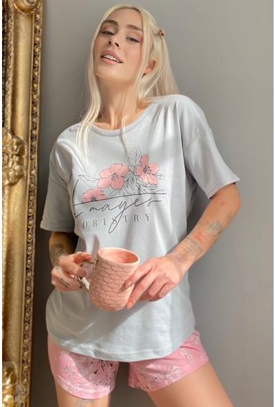 Pijama Evi Floristry Baskılı Şortlu Kadın Pijama Takımı