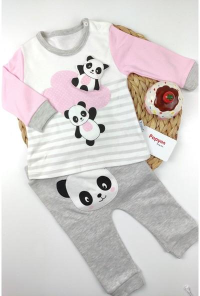 Papyon Baby Kids Panda Figürlü Omuz Çıtçıtlı 2li Bebek Takım