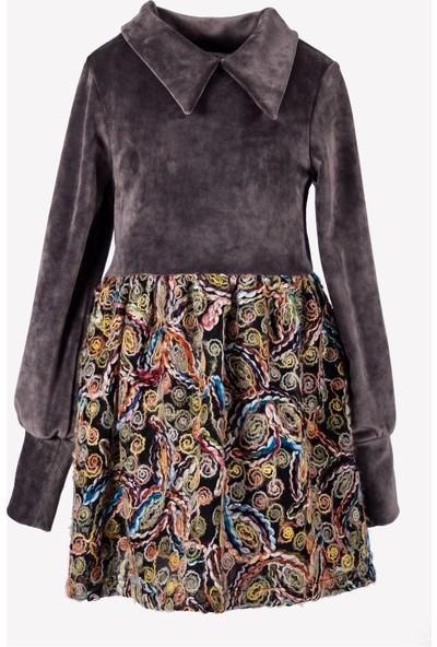 Ozmoz Yün Tül Detaylı Kadife Çocuk Elbise