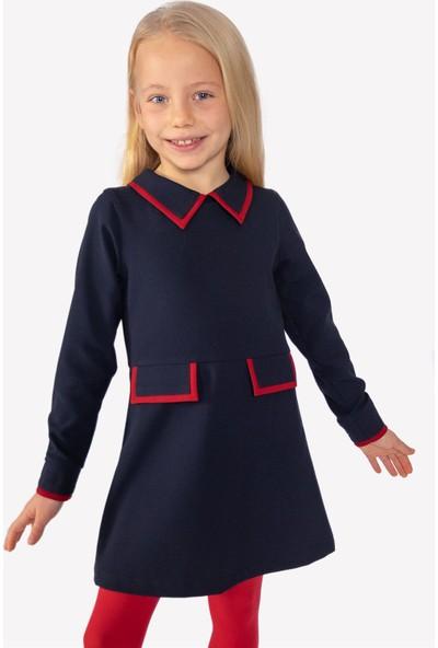 Ozmoz Lacivert Klasik Yaka Kız Çocuk Elbise