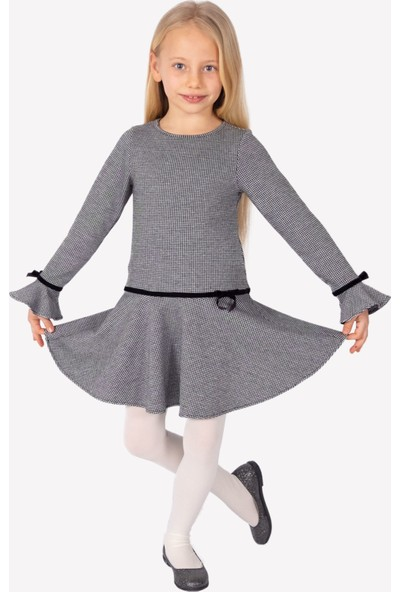 Ozmoz Gri Volanlı Kız Çocuk Elbise