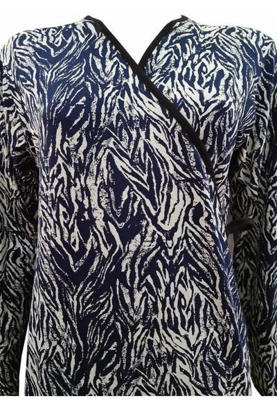 Hazal Namaz Elbisesi Viskon Kumaş Lacivert Batik Desen