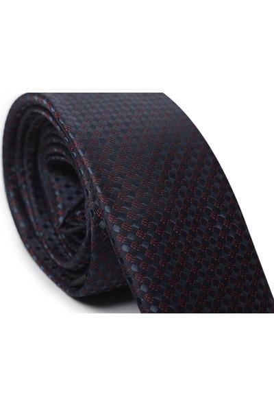 Ilhan Işık Erkek Işlemeli Saten Lacivert Takım Elbise Kravatı