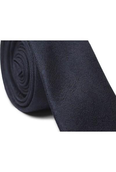 Ilhan Işık Erkek Desenli Saten Lacivert Takım Elbise Kravatı