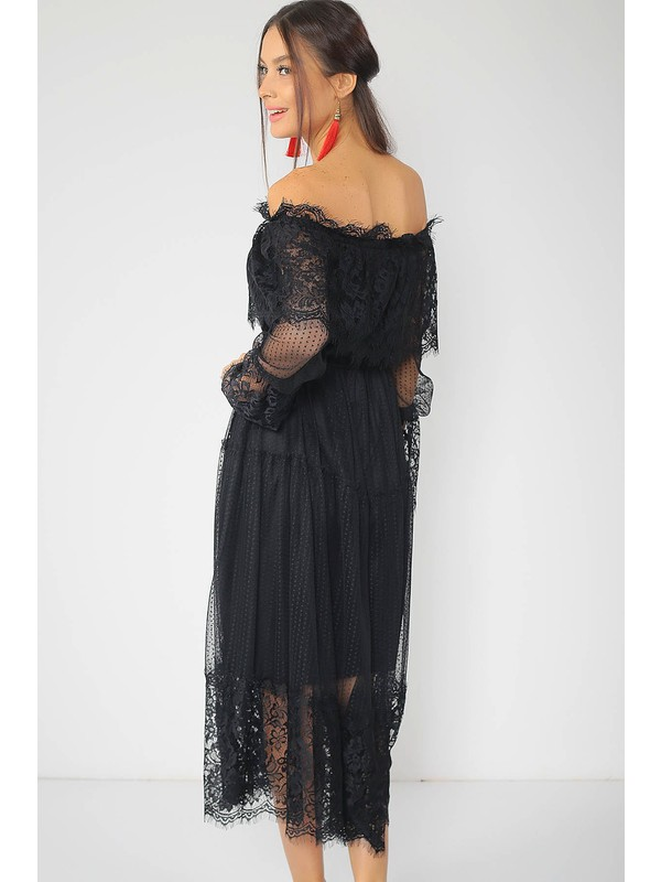 Ortaya Çık Siyah Madonna Yaka Dantel Elbise