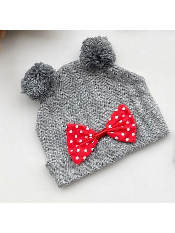 Güneş Bebe Mickey Triko Şapka Gri