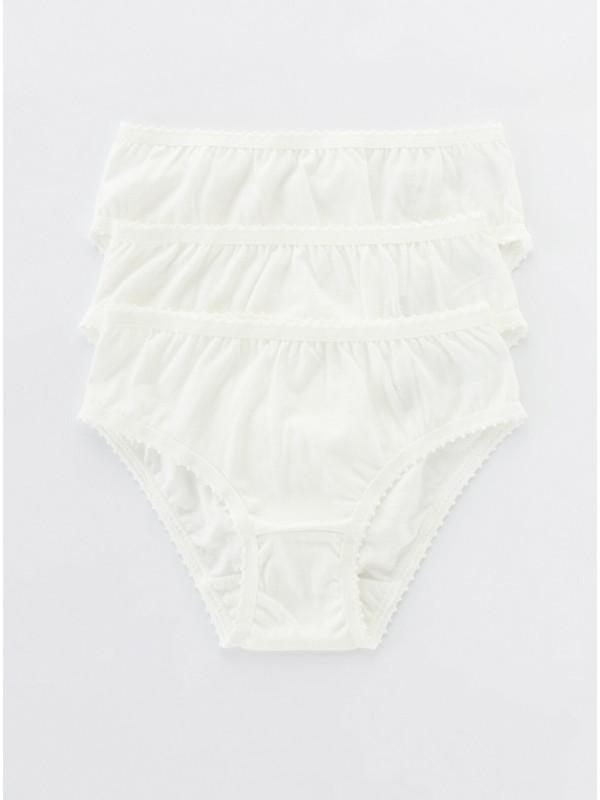 Penti Beyaz Kız Çocuk Organıc Cotton 3lü Slip Külot