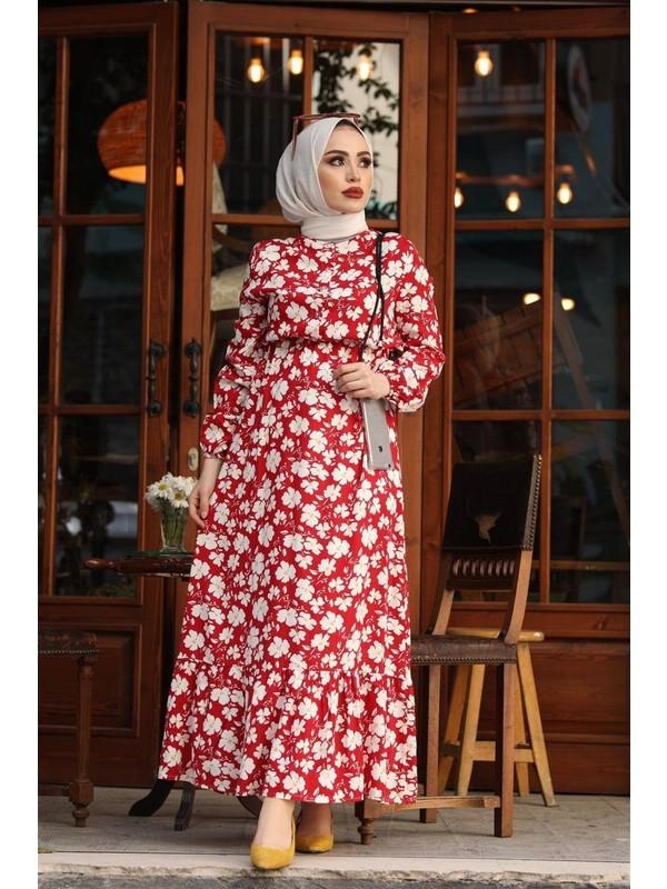 Elfida Giyim Papatya Desen Tesettür Elbise