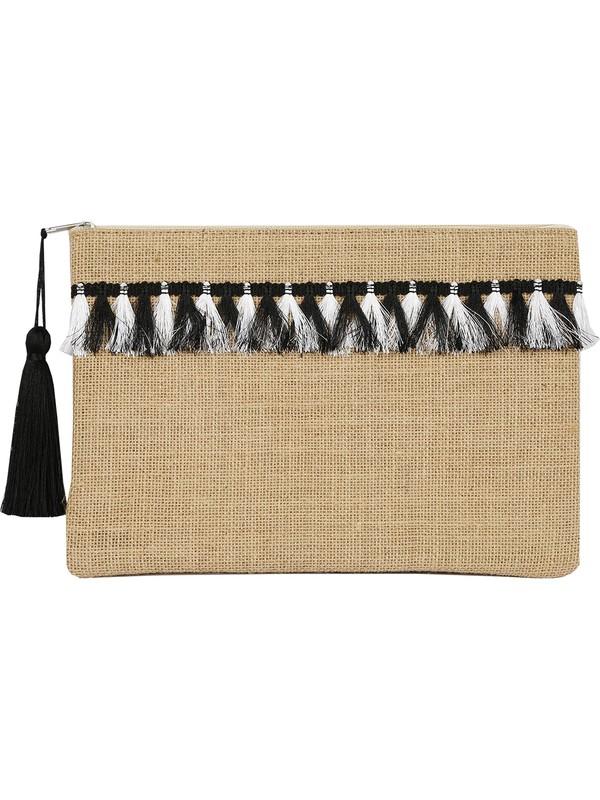 Bakras Siyah Beyaz Saçak Süslemeli Portföy Clutch Çanta