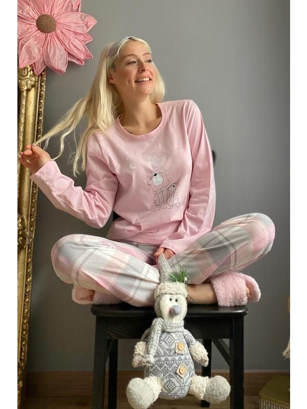 Pijama Evi Adventures Baskılı Uzun Kol Kadın Pijama Takımı