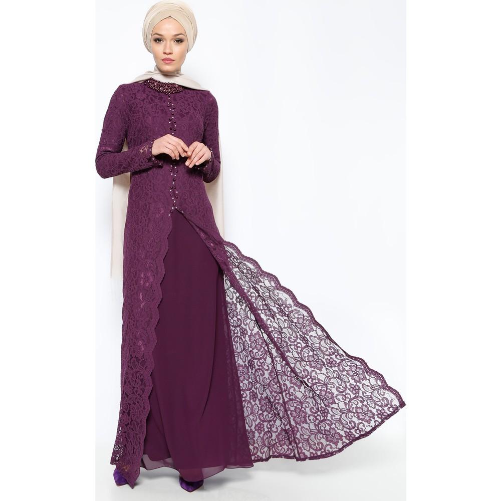 ad7935cbdf656 Doque Kadın Sarı Güpür Detaylı Abiye Elbise Bu Mudur?