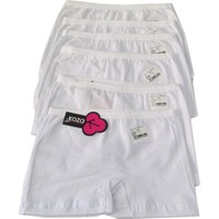 Koza Kız Çocuk Beyaz Boxer 6'lı Paket
