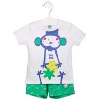 Tuc Tuc Maymunlu T-shirt+Şort Takım Isla Bonita Beyaz - Yeşil Desenli