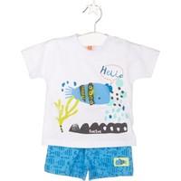 Tuc Tuc T-shirt+Şort Takım Fresh Beyaz - Mavi Desenli