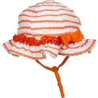 Tuc Tuc Çizgili Kız Çocuk Şapka Fresh Beyaz - Oranj Çizgili