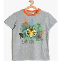 Koton Erkek Çocuk Baskılı T-Shirt Gri