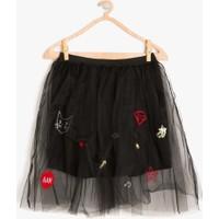 Koton Kız Çocuk Tül Detaylı Etek Siyah