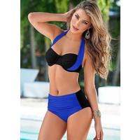 Angelsin Mavi Siyah Kaplı Bikini Takım