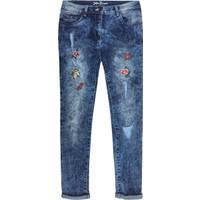 John Baner Jeanswear Kız Çocuk Mavi İşlemeli Skinny Jaen Pantolon