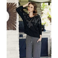 Mel Bee Taş Baskılı Pijama Takımı Siyah MBP23607-1