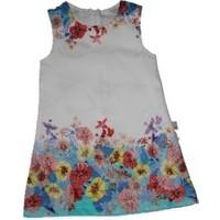 Lilax Çiçekli Kız Çocuk Jile Elbise - Yeşil