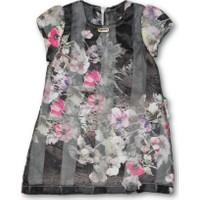Lilax Organze Desenli Kız Çocuk Elbise - Siyah