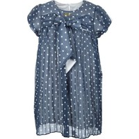Lilax Puanlı Kız Çocuk Şifon Elbise - Lacivert