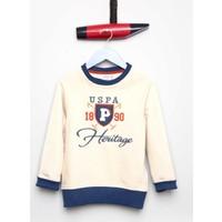 U.S. Polo Assn. Erkek Çocuk Werro Sweatshirt Bej