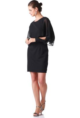 İroni Üstü Şifon Detaylı Yarasa Kol Siyah Elbise