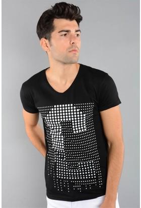 Rodin Hills Siyah Erkek T-Shirt Noktalı C Baskılı