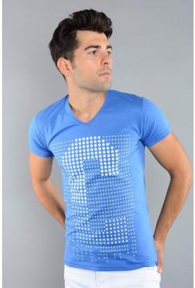 Rodin Hills Mavi Erkek T-Shirt Noktalı C Baskılı