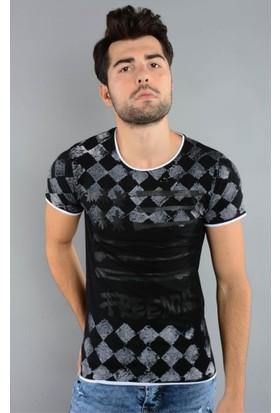 Rodin Hills Siyah Erkek T-Shirt Baklava Desen 4417