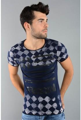 Rodin Hills Lacivert Erkek T-Shirt Baklava Desen 4417