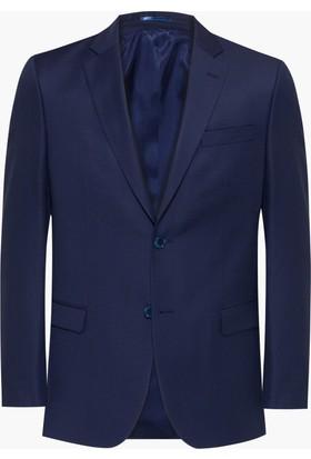 Hateko Altınyıldız Lacivert Eğik Çizgi Desenli Slim Fit Yün Erkek Ceket